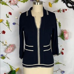 Emma James navy and white nautical knit top